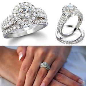Jewelry - Halo Round Cut Ring Set .925 Silver sz 7 & 8
